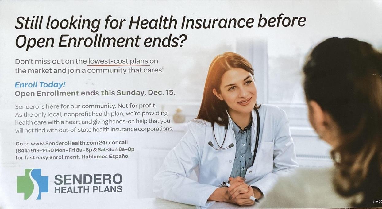 Sendero Health Plans mail piece
